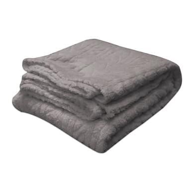 Plaid in 100% poliestere Softy, grigio / argento, 125x 150 cm