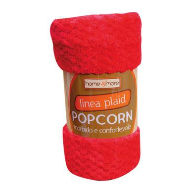 Plaid in 100% poliestere Popcorn, rosso, 125x 150 cm