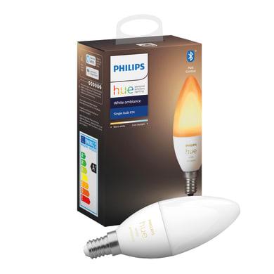 Lampadina smart lighting LED, 72629400, E14, Oliva, Opaco, CCT, 5.2W=470LM (equiv 40 W), 150° , PHILIPS HUE