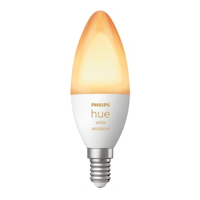Lampadina smart lighting LED, HUE AMBIENCE BLUETOOTH, E14, Oliva, Opaco, CCT, 5.2W=470LM (equiv 40 W), 150° , PHILIPS HUE
