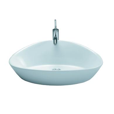 Lavabo da appoggio ovale Elipse in ceramica L 63 x P 43 x H 19 cm bianco