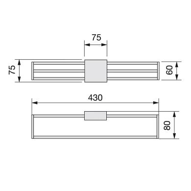 Porta cravatte/cinture Emuca grigio / argentoL 8.5 x H 8.5 x Sp 44.5 cm