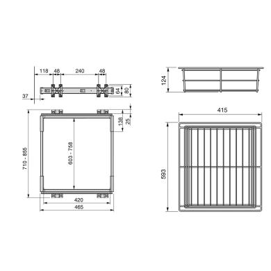 Cestello scorrevole con cornice L 44 x H 29 x P 64 cm grigio / argento