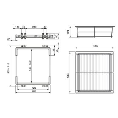 Cestello scorrevole con cornice L 43 x H 28 x P 50 cm grigio / argento