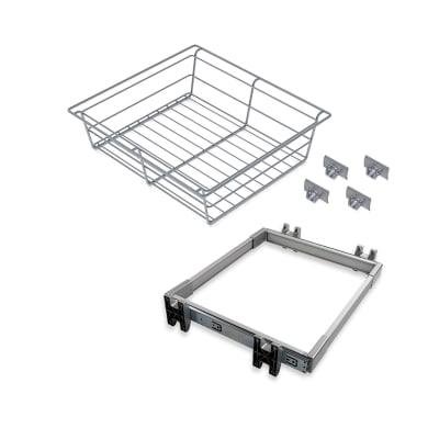 Cestello scorrevole con cornice L 44 x H 28 x P 78 cm grigio / argento