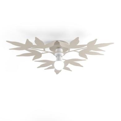 Plafoniera classico Birdie tortora, in vetro, 2  luci