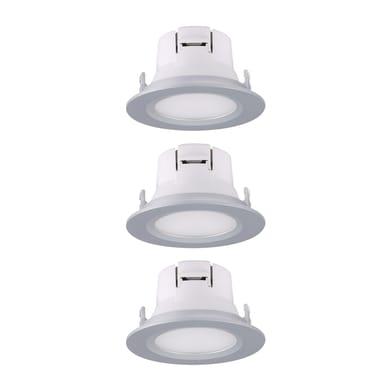 Set da 3 pezzi Faretto fisso da incasso tondo Extra xs nichel, diam. 8.5 cm LED integrato 3W 450LM IP20