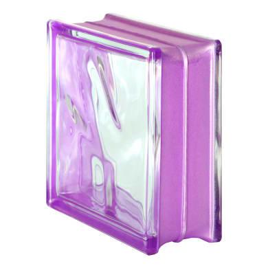 Vetromattone viola ondulato H 19 x L 19 x Sp 8 cm