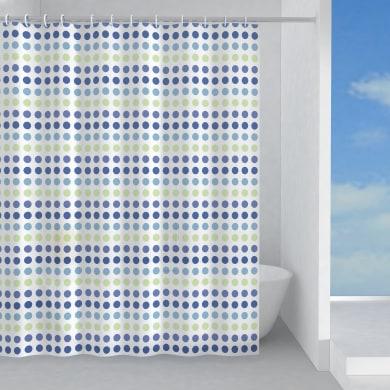 Tenda doccia Biglie in peva verde/blu L 240 x H 200 cm