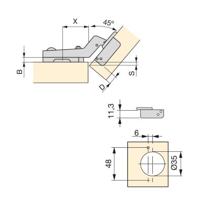 Cerniera acciaio , 2 pezzi