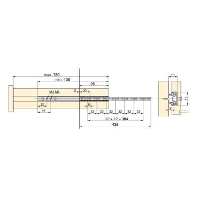 Guida cassetto EMUCA a sfera grigio / argento 43.8 x 35  mm