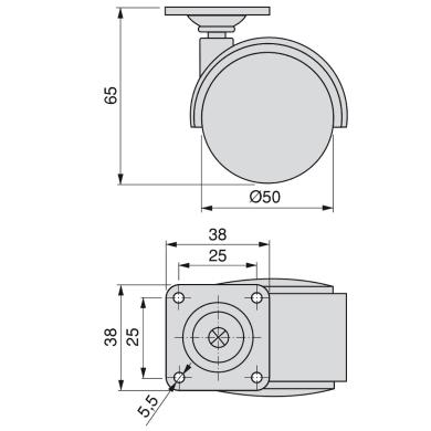 Rotella per mobili EMUCA in acciaio Ø 50 cm con freno