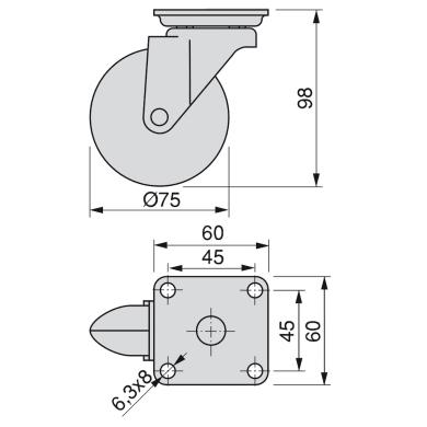 Rotella per mobili EMUCA in acciaio Ø 75 cm con freno