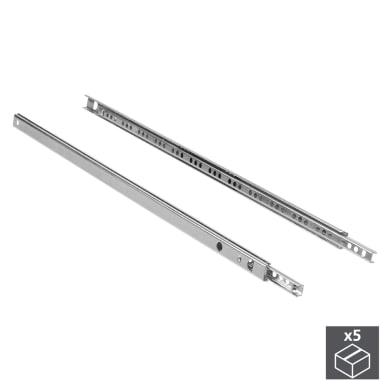 Guida cassetto EMUCA a sfera grigio / argento 21.4 x 35  mm