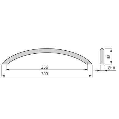 Maniglia per mobile in acciaio satinato EMUCA interasse 256 mm