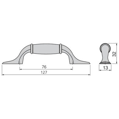 Maniglia per mobile in zama anticato EMUCA interasse 76 mm