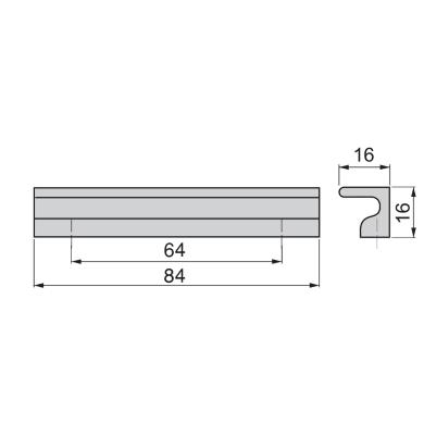 Maniglia per mobile in alluminio anodizzato EMUCA interasse 84 mm