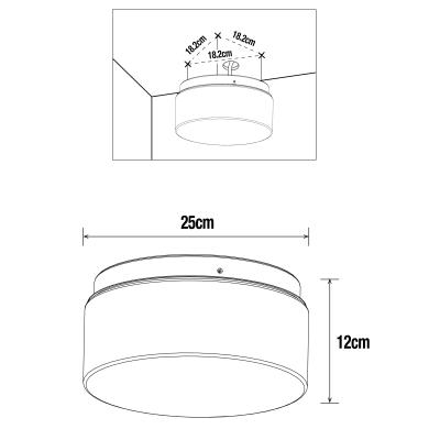 Plafoniera Plafoniera bianco D. 25 cm 25x25 cm,