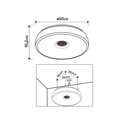 Plafoniera Parabolic LED integrato bianco D. 40 cm 40x40 cm, INSPIRE