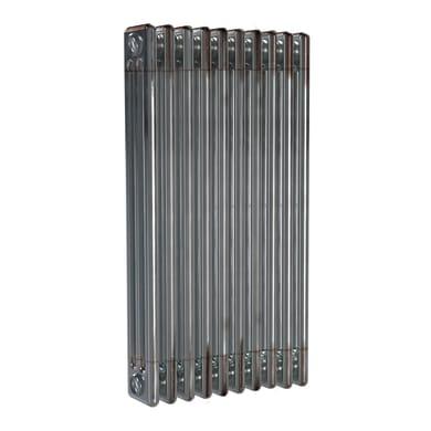 Radiatore acqua calda ERCOS grigio/acciaio grezzo ,aspetto lucido in acciaio 10 elementi interasse 81,3 cm