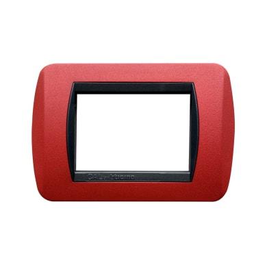 Placca CAL Living International 3 moduli rosso opaco compatibile con living international