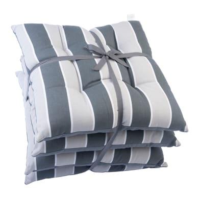 Cuscino per sedia Stripe antracite e perla 40x40 cm