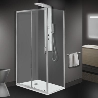Box doccia angolare porta scorrevole e lato fisso rettangolare Zesc 120 x 120 cm, H 1.9 cm in vetro temprato, spessore 6 mm trasparente cromato