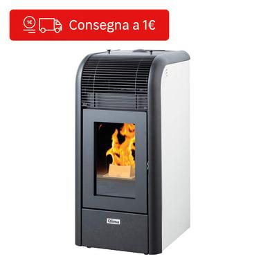 Stufa a pellet ventilata Lindara 9.3 kW bianco
