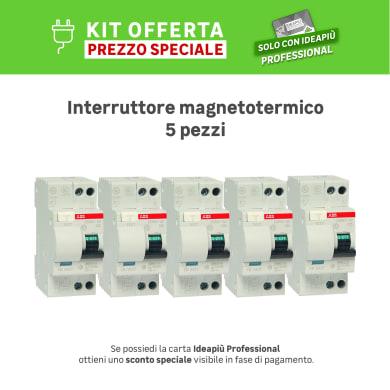 Kit Interruttore magnetotermico differenziale ABB DS 901 1 polo 25A 4.5kA 30mA AC 2 moduli 230V, 5 pezzi