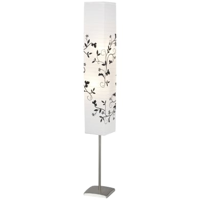 Lampada da terra cromo, bianco, grigio, in metallo, H145cm, 2xBRILLIANT