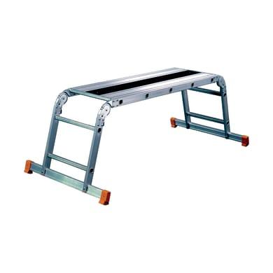 Scala snodata multifunzione FACAL Pedana pieghevole Alfa in alluminio 2 gradini per lavori fino a 2.5 m