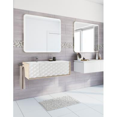 Set mobile da bagno con lavabo Neo3 bianco e rovere naturale L 120 cm