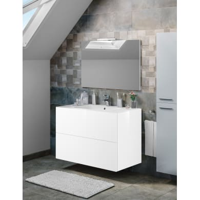 Set mobile da bagno con lavabo Neo3 bianco L 90 cm