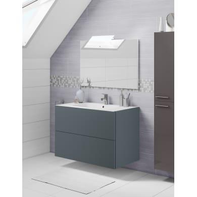 Set mobile da bagno con lavabo Neo3 grigio scuro L 90 cm