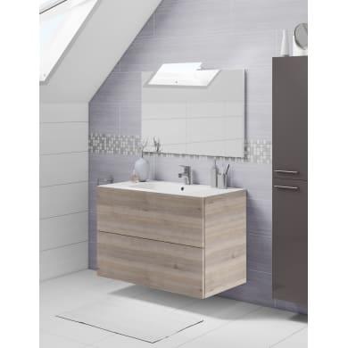 Set mobile da bagno con lavabo Neo3 grigio L 90 cm