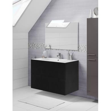 Set mobile da bagno con lavabo Neo3 nero L 90 cm