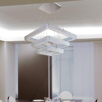 Lampadario Barocco Soledad LED integrato trasparente, in acrilico, L. 55 cm, NOVECENTO