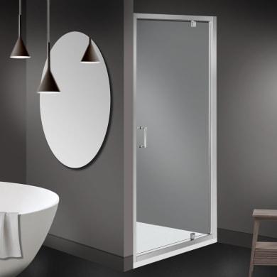 Box doccia angolare con porta a battente e lato fisso quadrato Zesc 80 x 80 cm, H 1.9 cm in vetro temprato, spessore 6 mm trasparente cromato