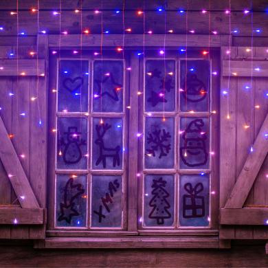 Tenda luminosa 175 lampadine led multicolore H 110 x L 315 cm
