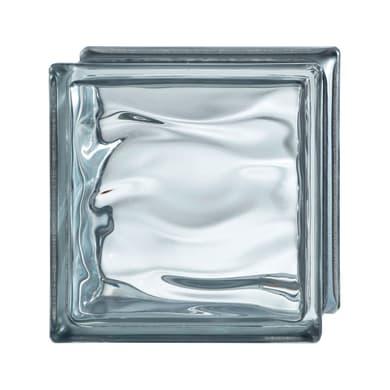 Vetromattone grigio ondulato H 19 x L 19 x Sp 8 cm