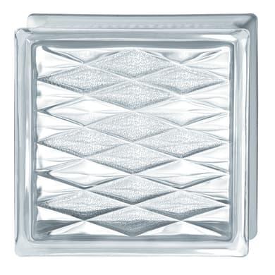Vetromattone BORMIOLI A rete trasparente lucido H 19 x L 19 x Sp 8 cm