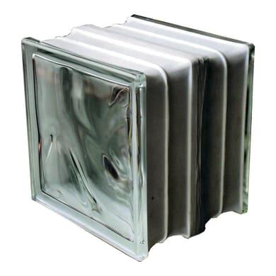 Vetromattone trasparente ondulato Termo acustico H 19 x L 19 x Sp 16 cm
