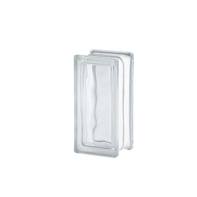 Vetromattone trasparente ondulato H 9 x L 19 x Sp 8 cm