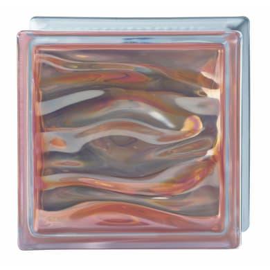 Vetromattone BORMIOLI Agua Perla ambra ondulato H 19 x L 19 x Sp 8 cm