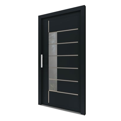 Portoncino d'ingresso Domus grigio L 80 x H 210 cm sinistra