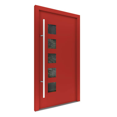 Portoncino d'ingresso Optimus rosso L 90 x H 210 cm destra