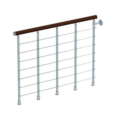 Balaustra Ring tube in legno faggio e metallo grigio cromo L 1200 mm H 1000 mm