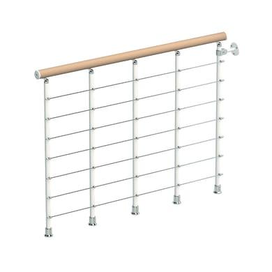 Balaustra Ring tube in legno faggio e metallo bianco L 1200 mm H 1000 mm