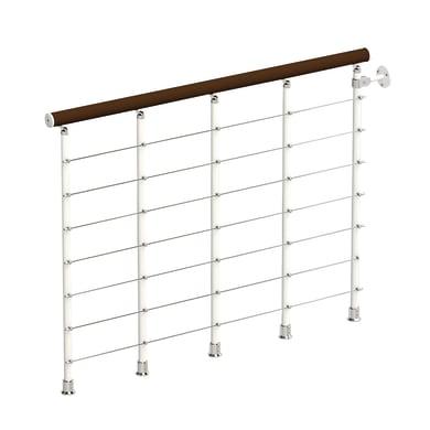 Balaustra Ring tube in legno faggio e metallo bianco L 1200 mm H 1200 mm