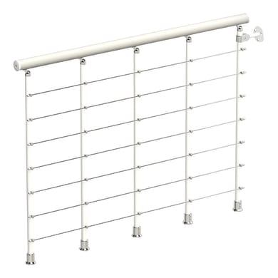 Balaustra Ring tube in legno bianco e metallo bianco L 1200 mm H 1000 mm